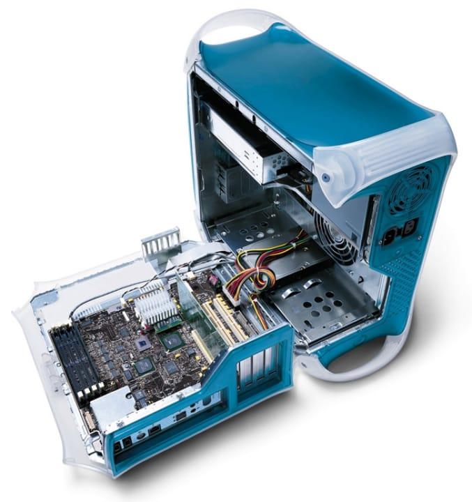 Открытый системный блок компьютера